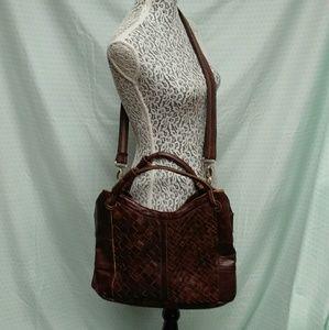 Love stitch leather handbag